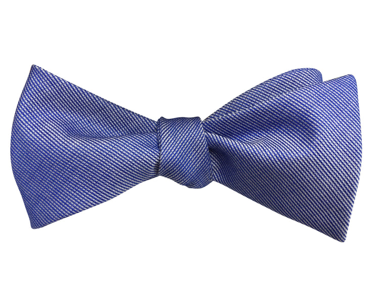 Fine Blue and White Striped Chambray Bow Tie