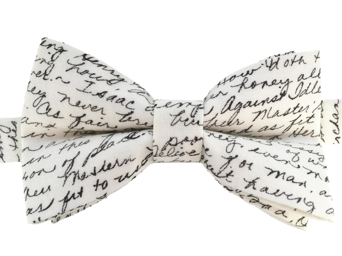 Cream 'Literary' Bow Tie