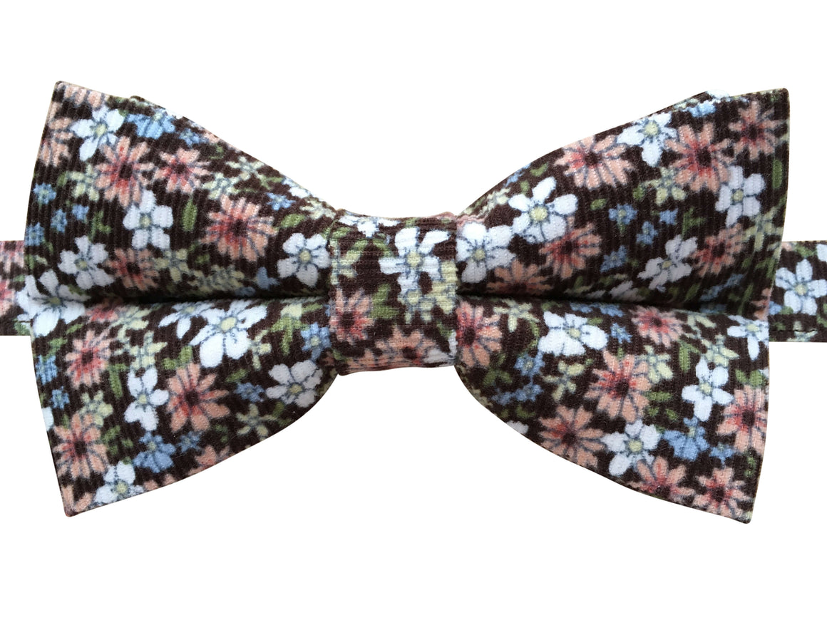 Brown Needlecord Floral Bow Tie