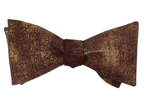 Burgundy Red & Gold Bow Tie
