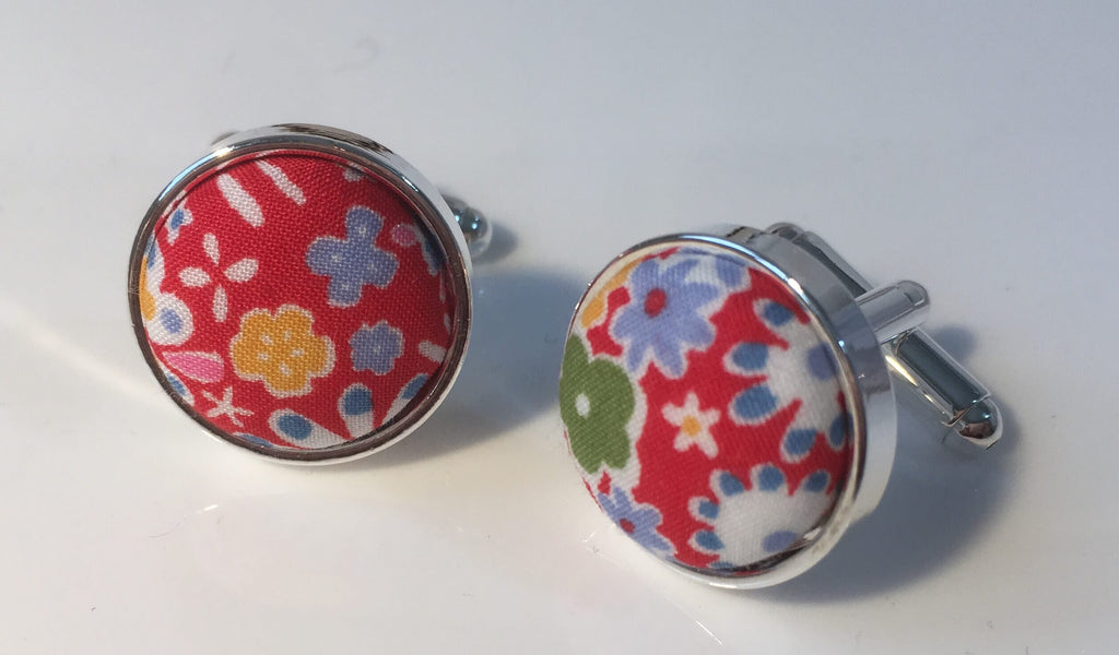 Red Floral Liberty Print Cufflinks