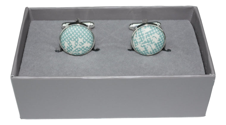 Cufflinks Aqua Pixel and floral