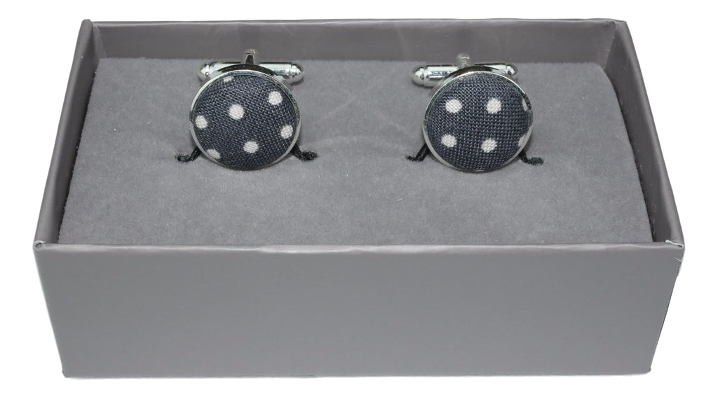 Cufflinks Grey and White Polka Dot