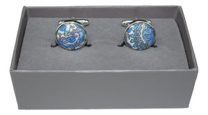 Cufflinks with Blue Paisley Fabric from Liberty of London