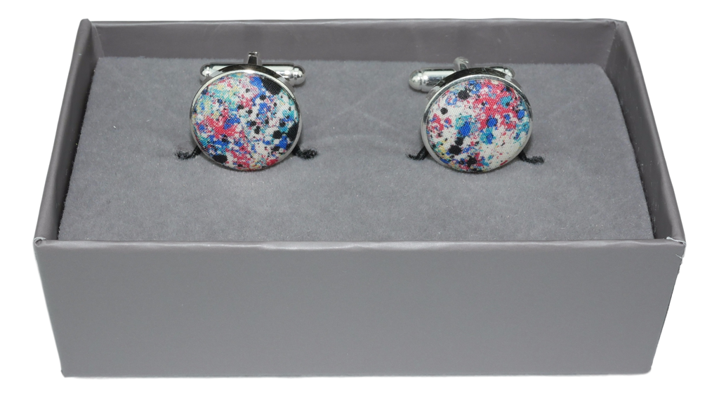 Cufflinks with Splash Paint Effect Fabric from Liberty of London