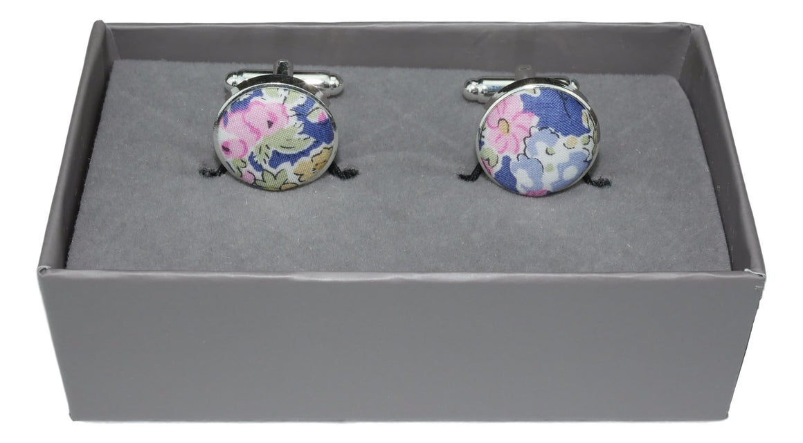 Cufflinks in a Blue and Pink Floral fabric by Liberty of London