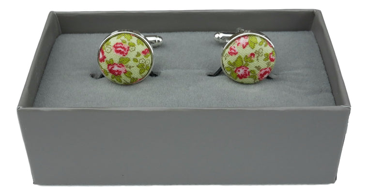 Cufflinks Lime Green Pink Floral