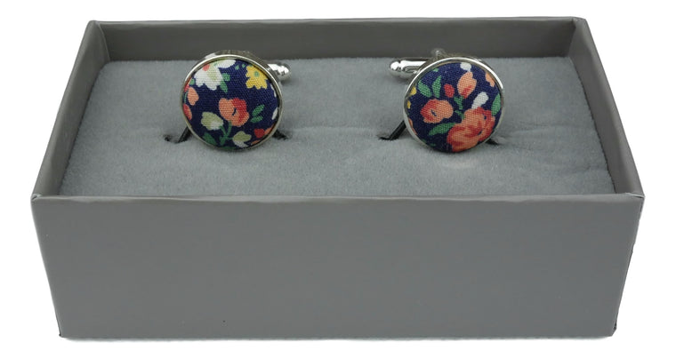 Cufflinks Navy Blue Floral