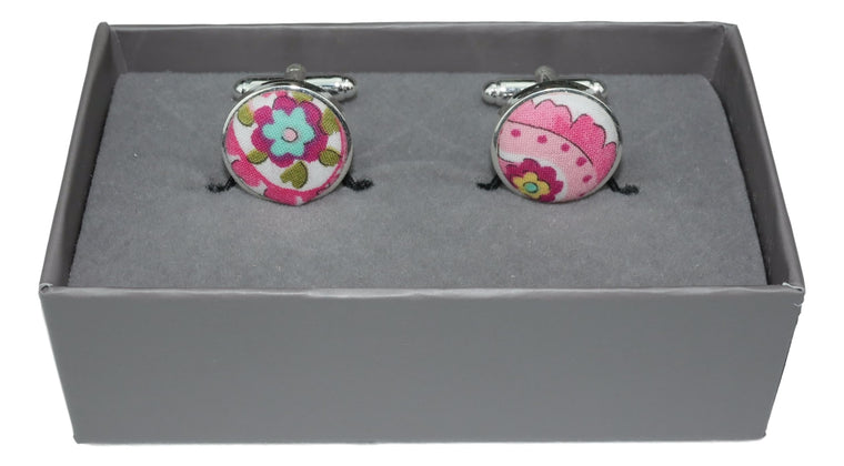 Cufflinks White and Pink Paisley