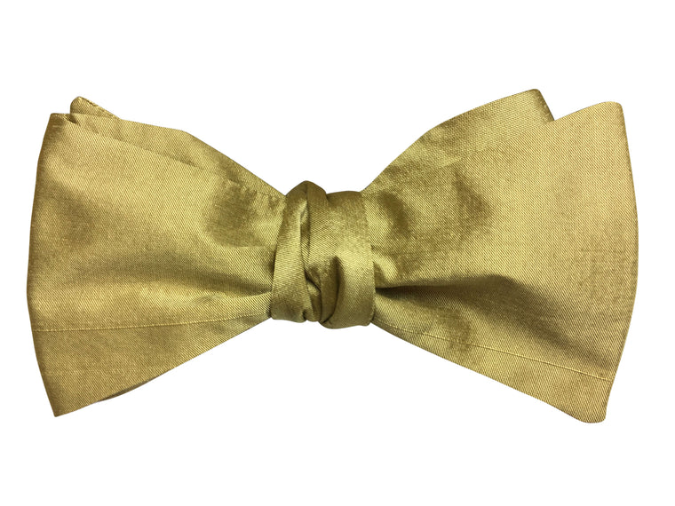 Gold Silk Self Tie Bow Tie