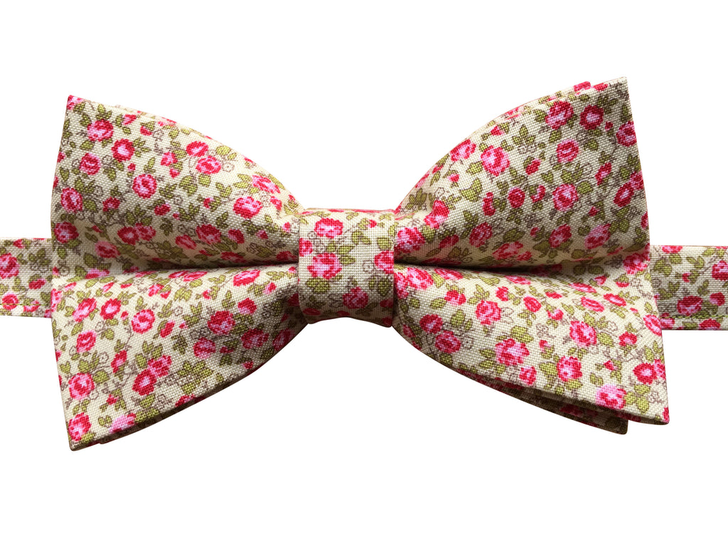 Pink Floral Bow Tie on Green