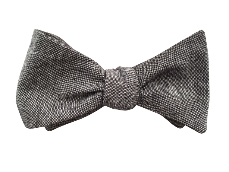 Grey Chambray Self Tie Bow Tie
