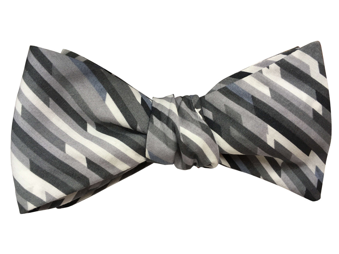 Abstract Grey Self Tie Bow Tie - Liberty of London Fabric