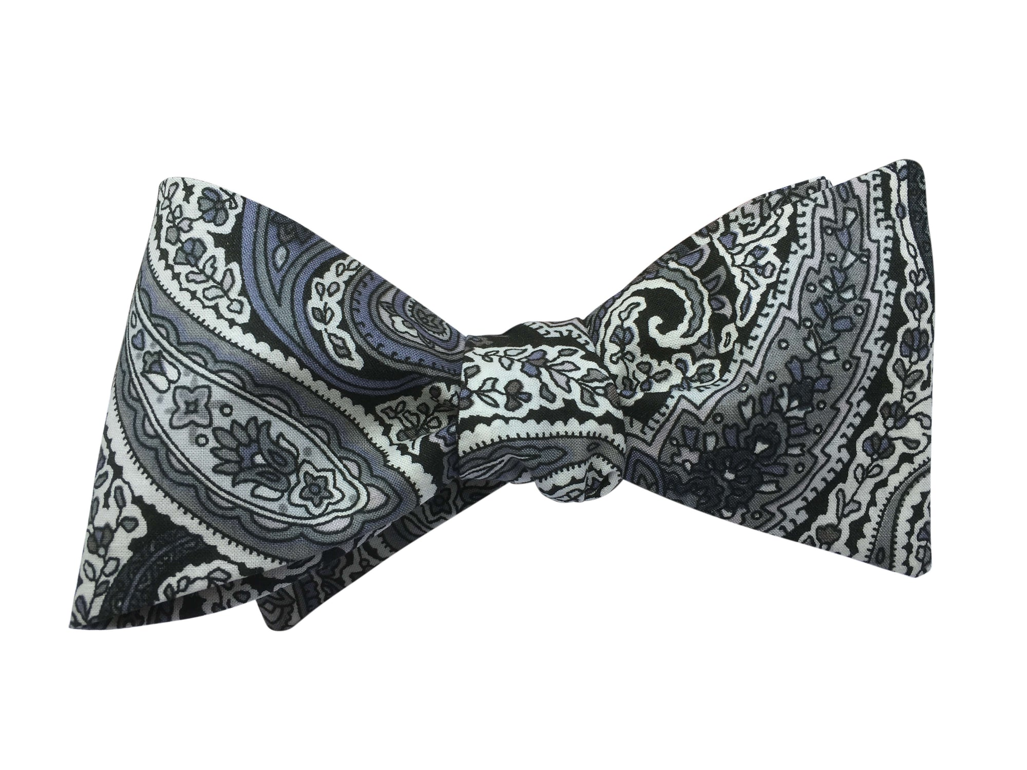Grey Paisley Self-Tie Bow Tie