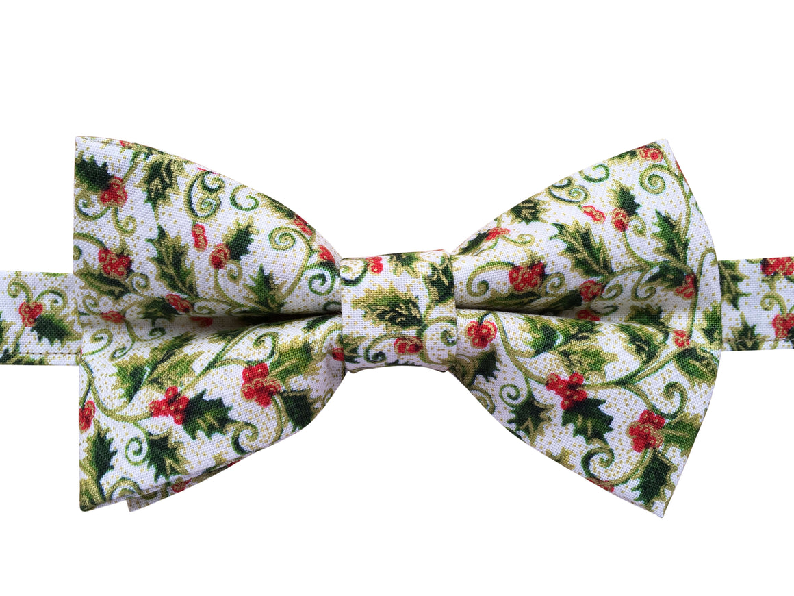 Holly and Ivy Christmas Bow Tie
