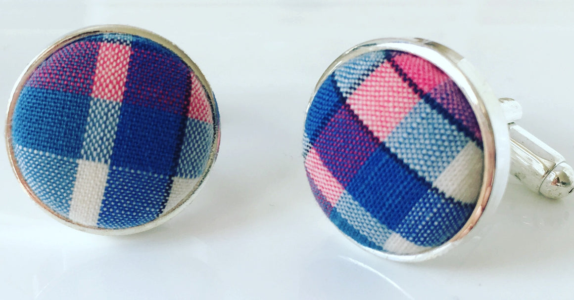 Cufflinks Paul Smith Blue Pink Check Fabric