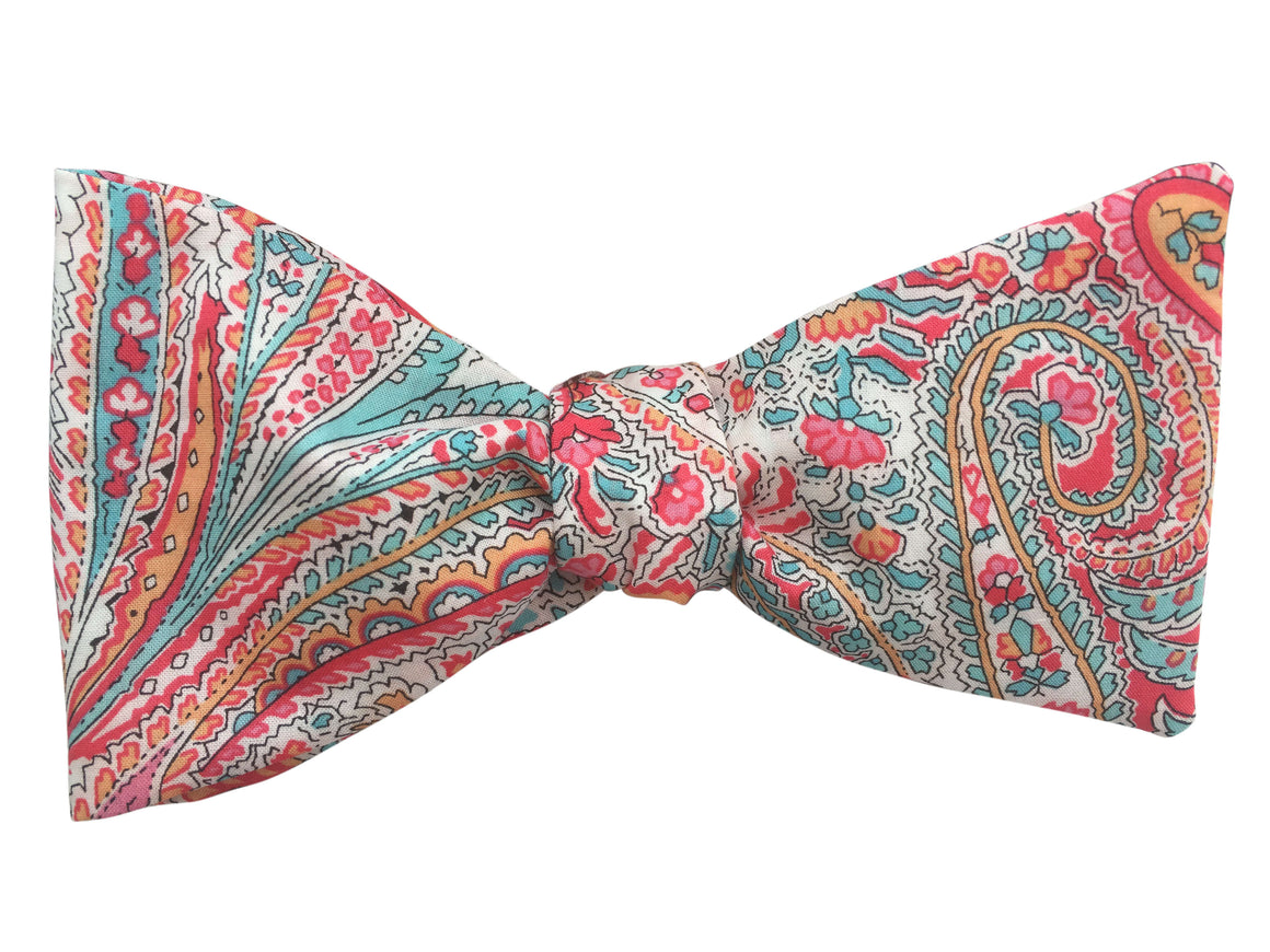 Pink Paisley Self-Tie Bow Tie