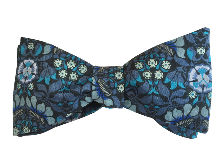 Blue Art Nouveau Self Tie Bow Tie