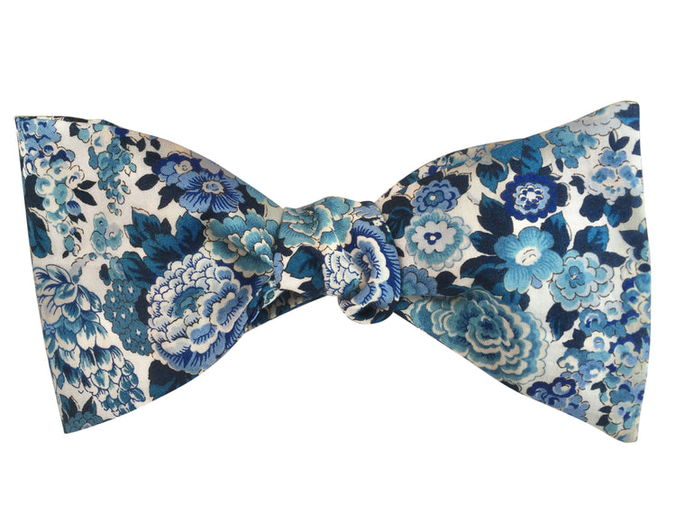 Blue Blossom Floral Self Tie Bow Tie