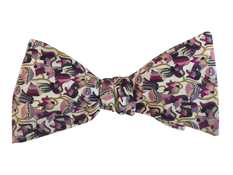 Burgundy Floral Self-Tie Bow Tie in Liberty of London Fabric