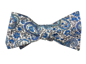 Blue Paisley Self Tie Bow Tie - Liberty of London fabric