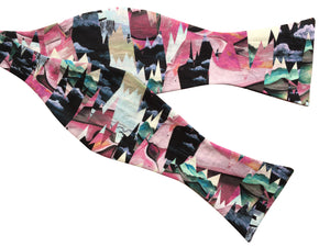 liberty pink and black desert landscape bow tie