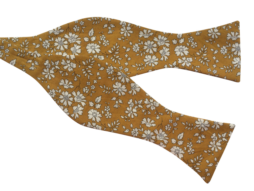 Mustard Yellow Floral Self-Tie Bow Tie