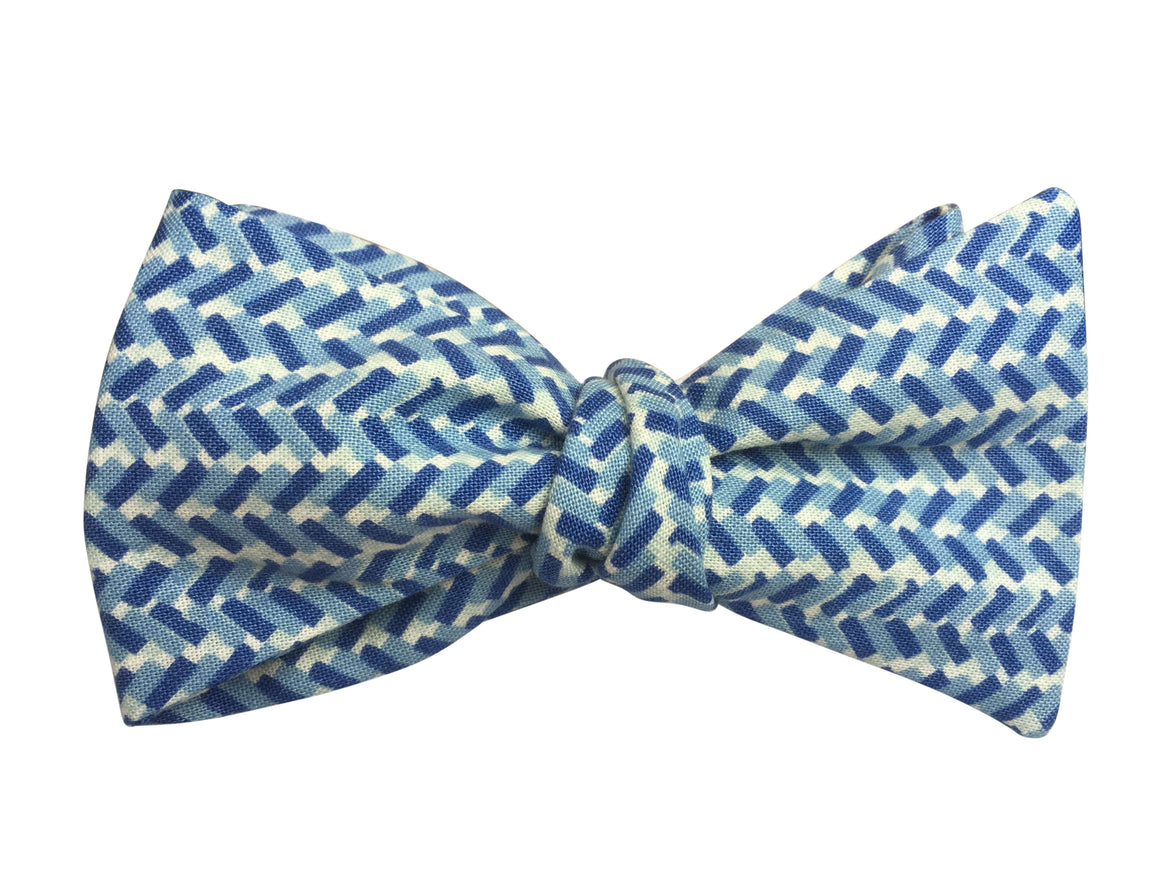 Blue Herringbone Bow Tie