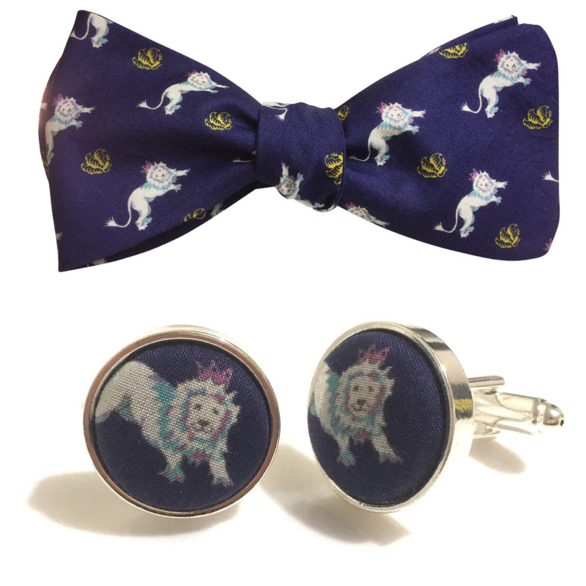 Liberty of London Lions Bow Tie & Matching Cufflink Set