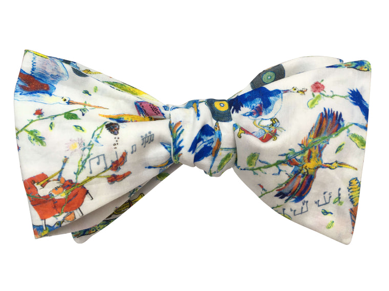 Funky Birds Self Tie Bow Tie - Liberty of London Fabric