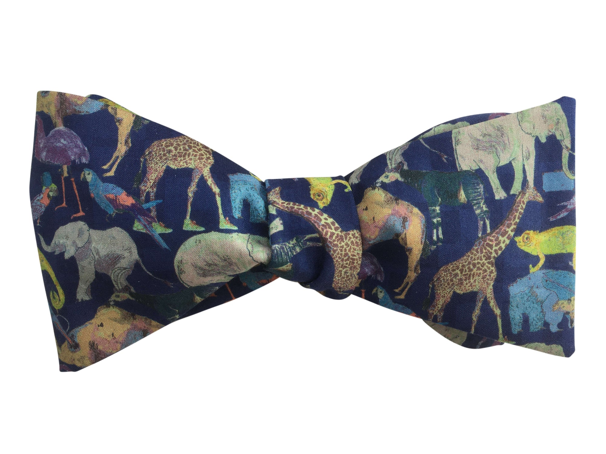 liberty print navy blue queue for the zoo bow tie