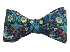 liberty print navy blue strawberry thief bow tie
