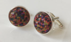 Cufflinks with Pixel Style Fabric from Liberty of London