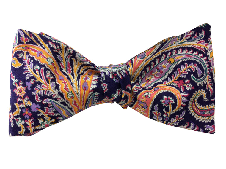 Deep Purple Paisley Self Tie Bow Tie - Liberty of London Fabric