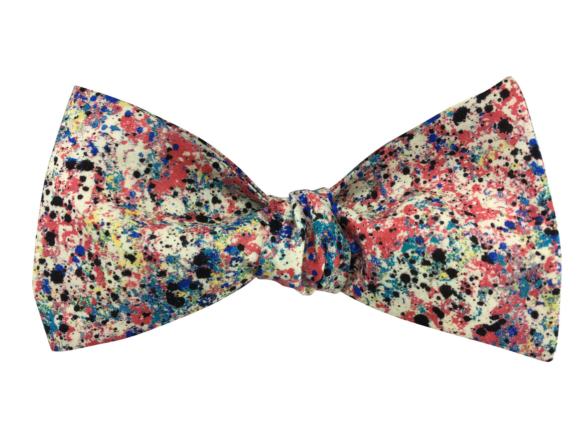 Funky Splash Paint Self Tie Bow Tie - Liberty of London Fabric