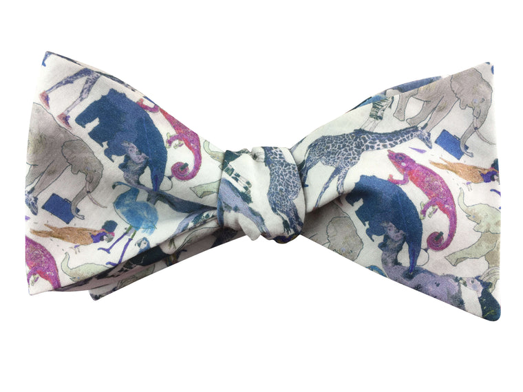 Zoo Animals Self Tie Bow Tie - Liberty of London Fabric