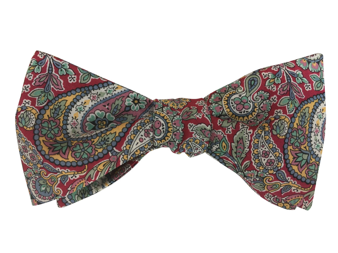 Red Paisley Bow Tie - Liberty Print