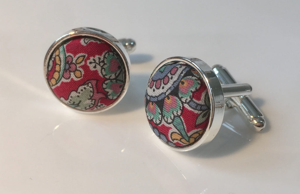 Red Paisley Liberty Print Cufflinks