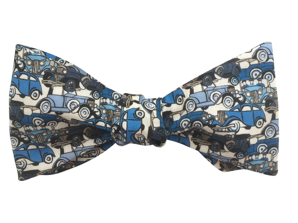 Blue Vintage Cars Self-Tie Bow Tie
