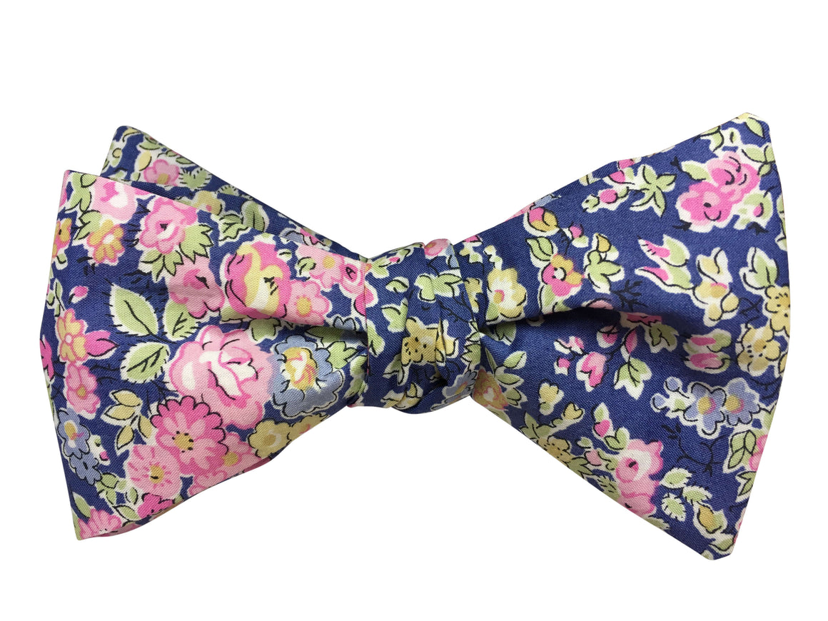 Blue & Pink Floral Bow Tie - Liberty of London Fabric
