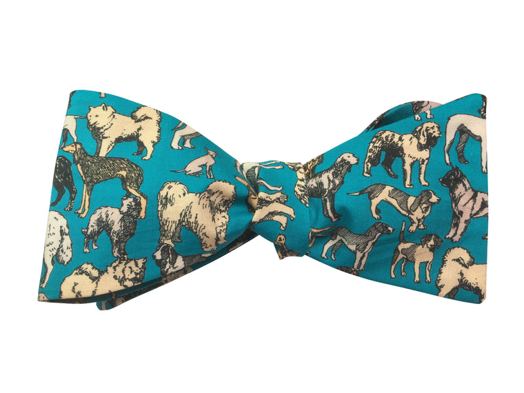 Turquoise Dogs Bow Tie - Liberty Print