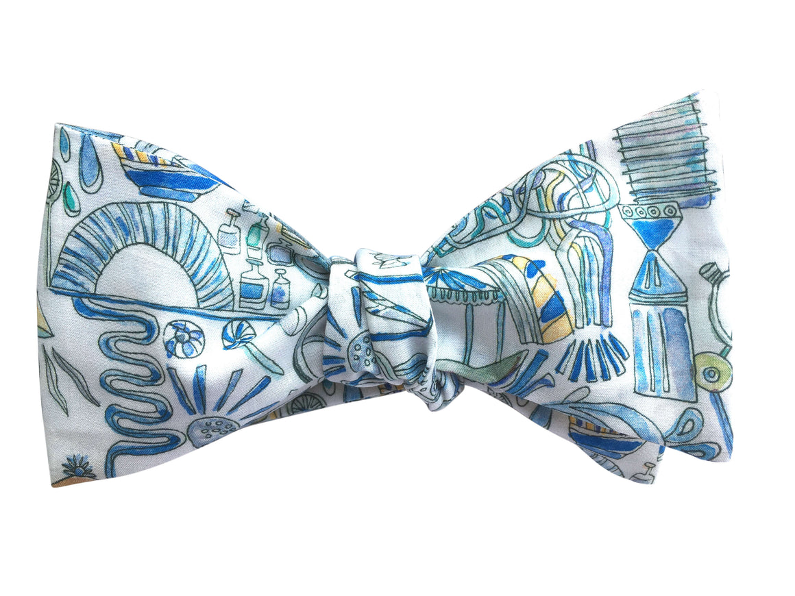 Funky White Science Bow Tie - Liberty Print