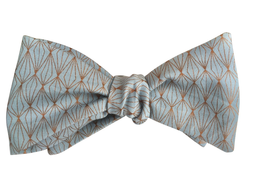 Pale Blue & Rose Gold Self Tie Bow Tie