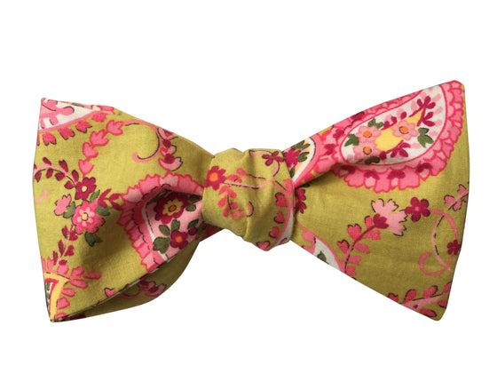 Lime Green and Pink Paisley Self-Tie Bow Tie