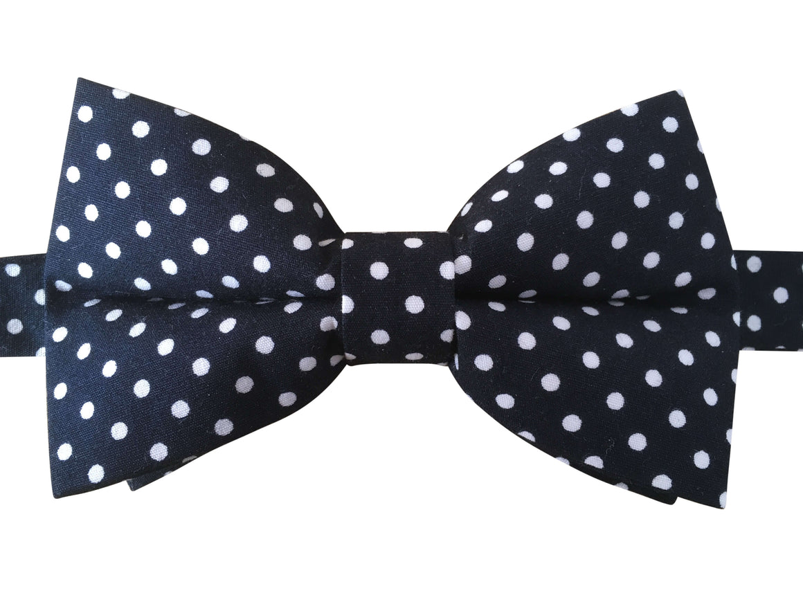 Navy Blue Bow Tie with White Polka Dots