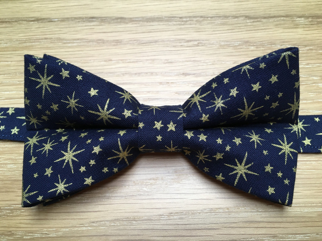 Blue and Gold Stars Festive Bow Tie