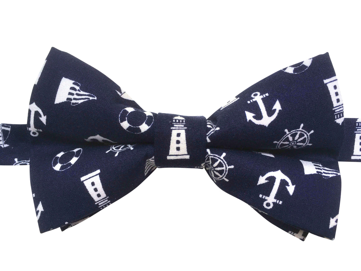 Funky Navy Blue Nautical Bow Tie