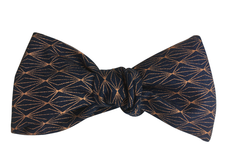 Bow Tie - Navy Blue & Rose Gold