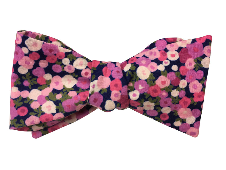 Navy Blue and Abstract Pink Floral Self-Tie Bow Tie