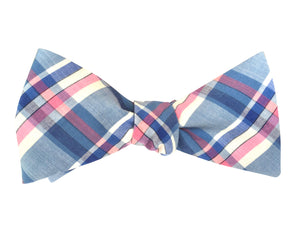 Blue & Pink Check Bow Tie
